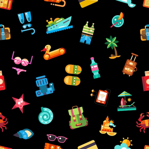Pattern of  vector modern   seaside travel vacation icons and infographics elements Premium Vector