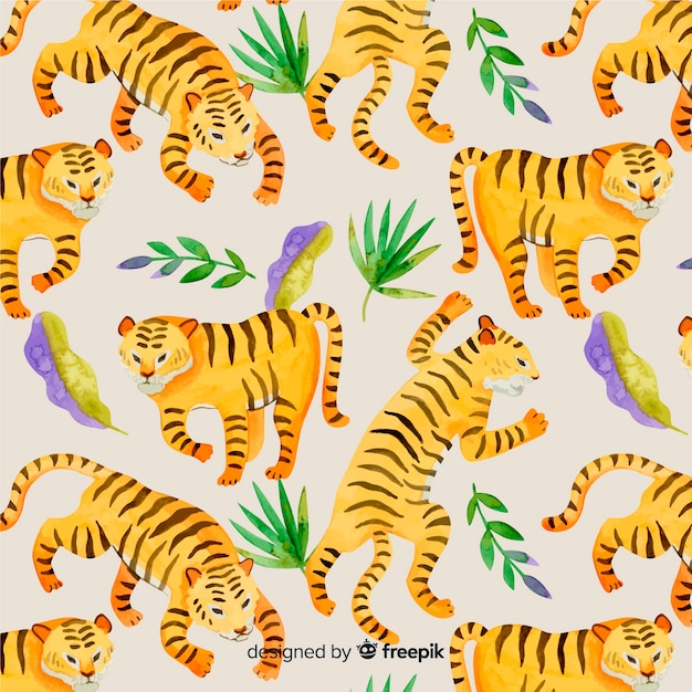Pattern of wild tiger in watercolor Free Vector
