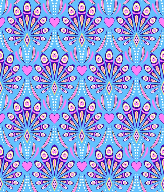 Pattern with abstract peacock feathers Premium Vector