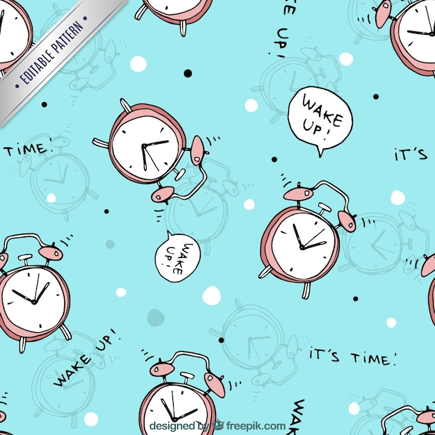 Pattern With Alarm Clocks Vector Free Download
