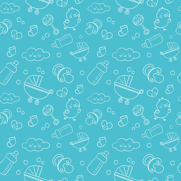 Pattern with baby elements Free Vector