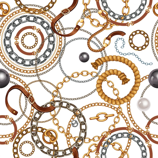 Pattern with belts and gold and silver chains. Free Vector
