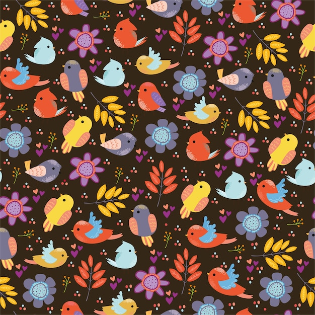 pattern with birds Free Vector