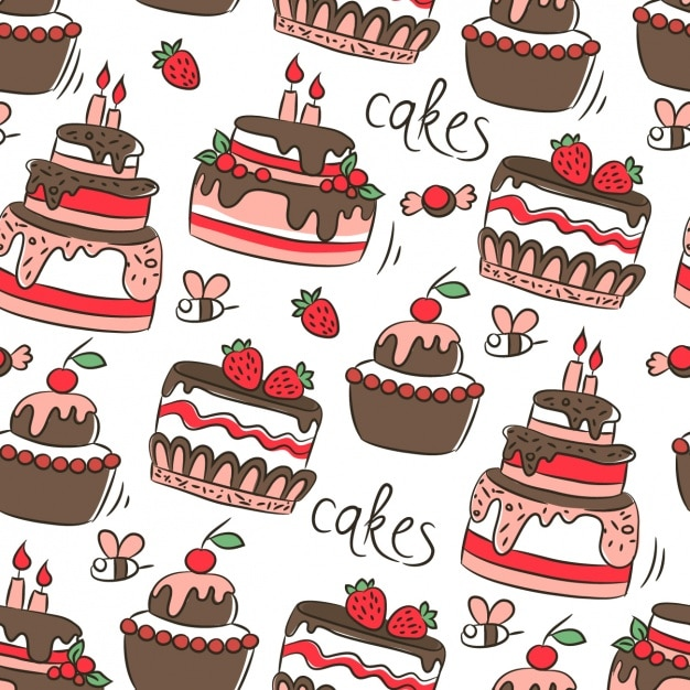 Amazing Download Vector Pattern With Birthday Cakes Vectorpicker Funny Birthday Cards Online Aboleapandamsfinfo