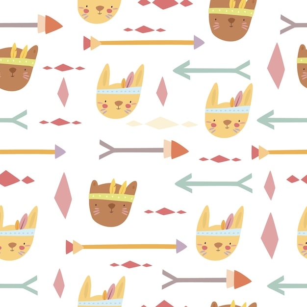 Boho 동물 및 화살표 패턴 무료 벡터