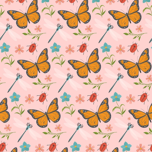 蝶と花のパターン 無料ベクター