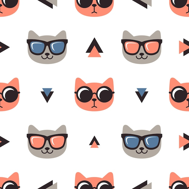 Pattern with cats with glasses on white background Premium Vector