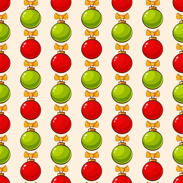 Pattern with christmas balls seamless background Premium Vector