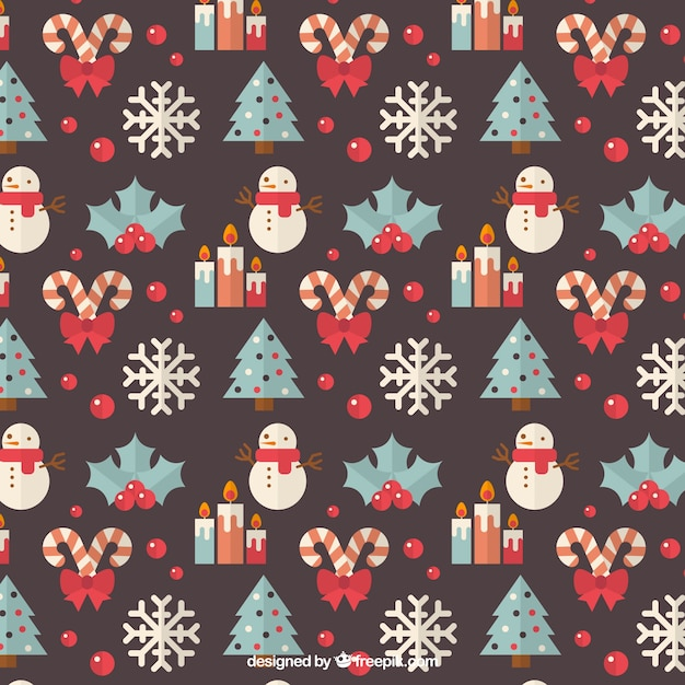 Pattern with christmas trees and snowmen Free Vector