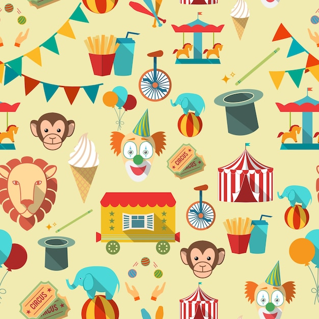 Pattern with circus elements Free Vector