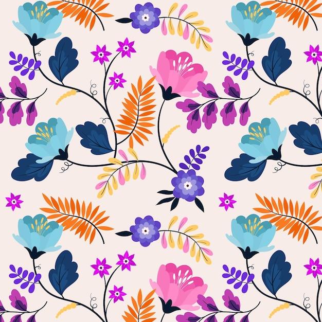カラフルなエキゾチックな花と葉のパターン 無料ベクター