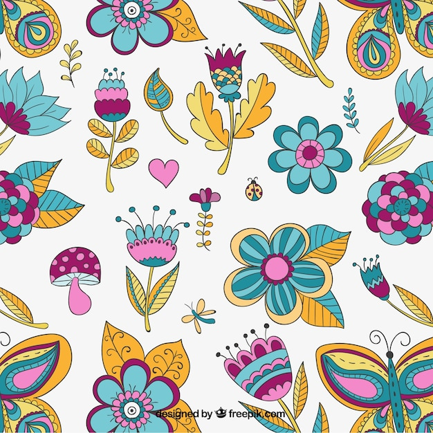 Pattern with colorful flowers Free Vector