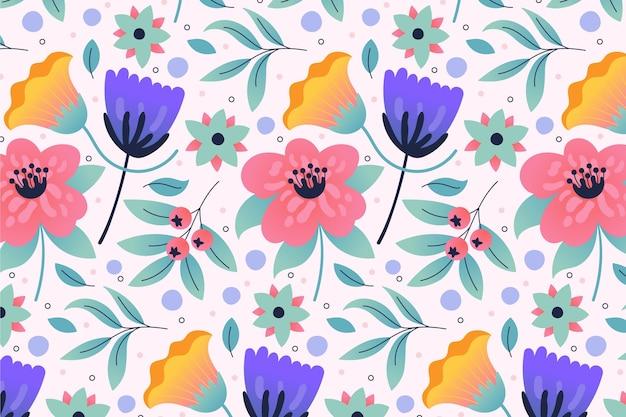 화려한 열 대 꽃과 잎 패턴 무료 벡터