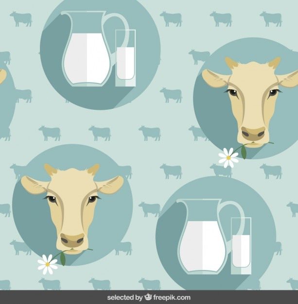 Pattern with cow heads and milk jug Free Vector