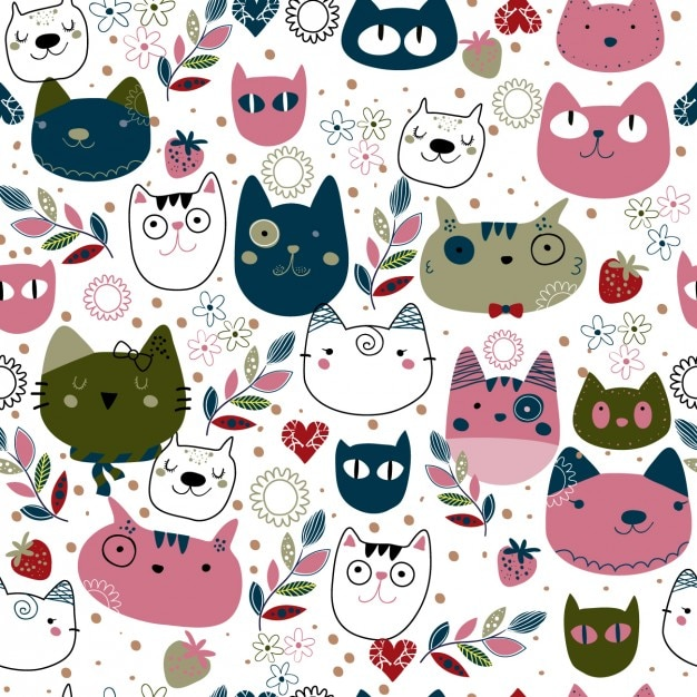 Pattern with cute cat heads Free Vector