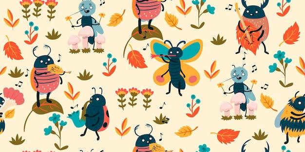 かわいい昆虫ミュージシャンとのパターン。 Premiumベクター