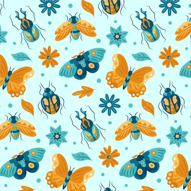 さまざまな昆虫と花のパターン Premiumベクター