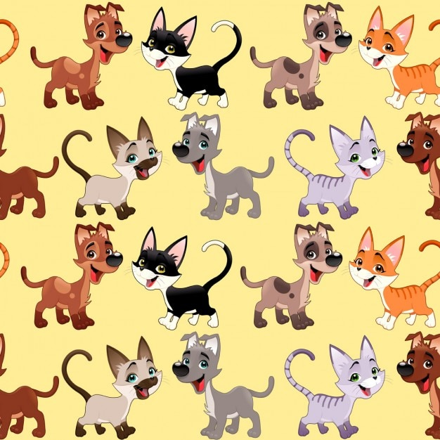 Pattern with dogs and cats
