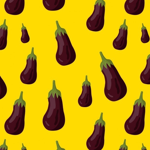 Pattern with eggplants on a yellow background Free Vector