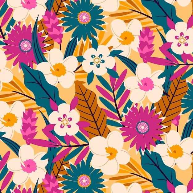 이국적인 꽃과 잎 패턴 무료 벡터