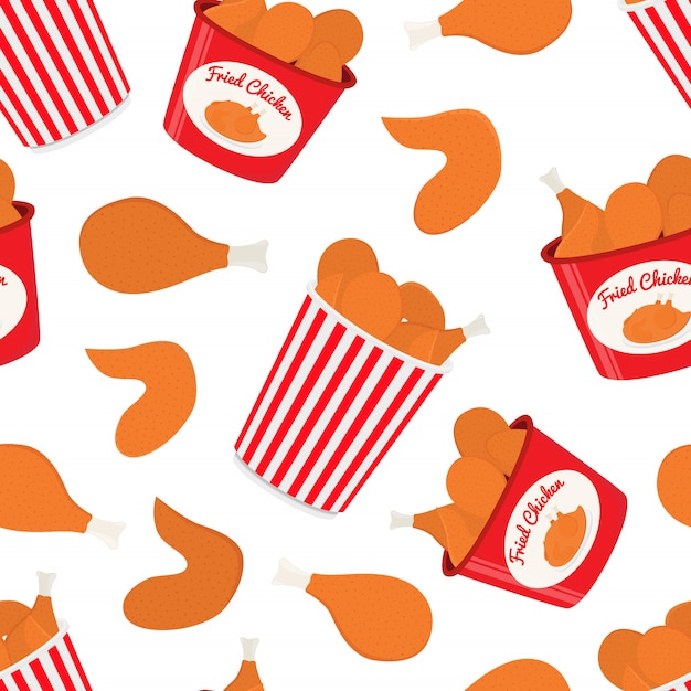 Pattern with fastfood, bucket with fried chicken Premium Vector