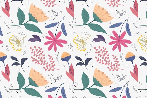 Узор с цветами и листьями Бесплатные векторы