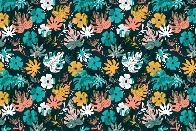 꽃과 나뭇잎 패턴 프리미엄 벡터