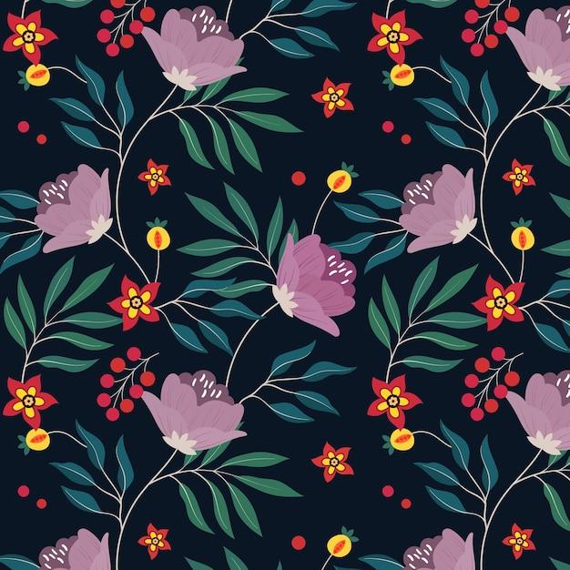 Образец с цветами и листьями Premium векторы