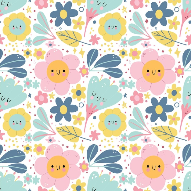 Pattern with flowers and leaves Free Vector