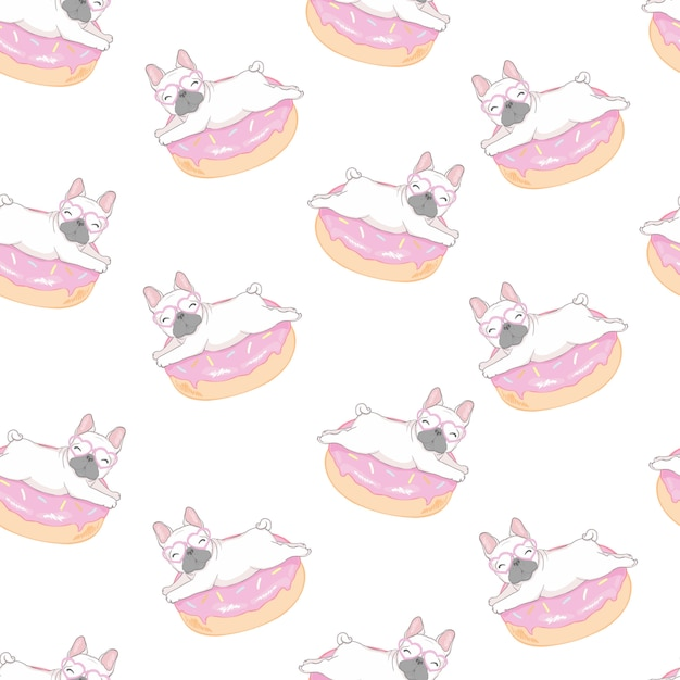 Pattern with funny pug and donut. Premium Vector