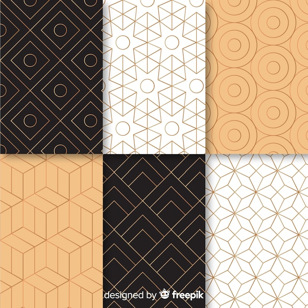 Pattern with gemotric luxury collection Premium Vector