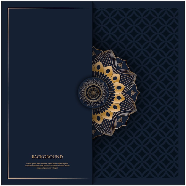 Pattern with golden vintage ornament mandala and place for text on navy blue background for invitation, postcard background Premium Vector
