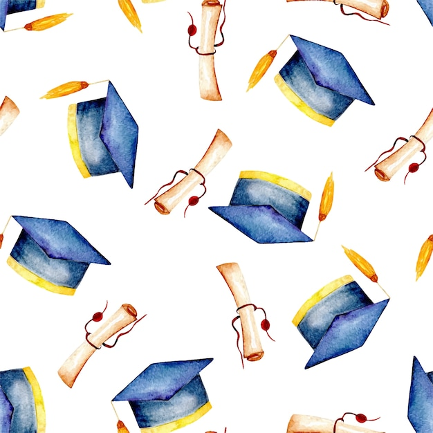 Pattern with graduate hat and scroll of parchment Premium Vector
