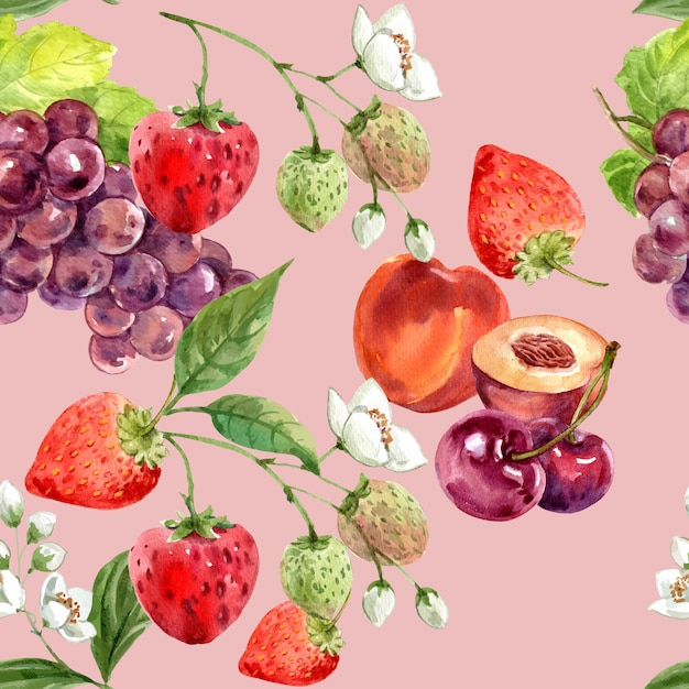 Pattern with grape, strawberry and cherry, seamless pink background illustration template Free Vector