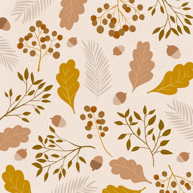 Pattern with hand drawn branches of wild plants Premium Vector