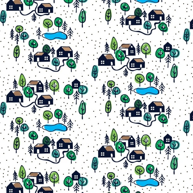 Pattern with hand drawn houses Free Vector