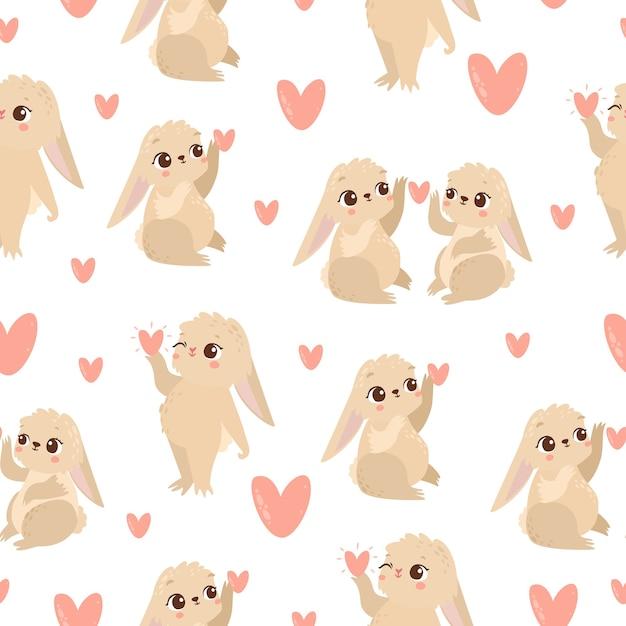 사랑에 토끼와 패턴 무료 벡터