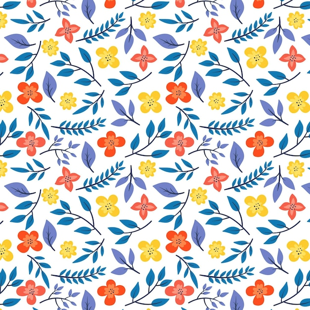 Pattern with leaves and flowers Free Vector