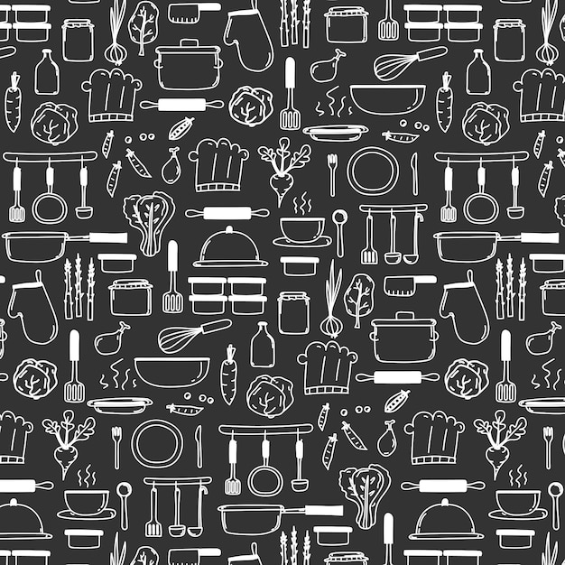 Pattern with line hand drawn doodle cooking Premium Vector