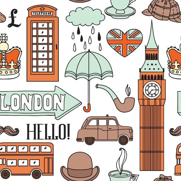 Pattern with london symbols and landmarks Premium Vector