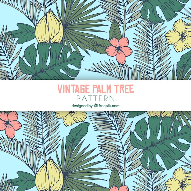 Pattern with palm leaves and flowers in retro style Free Vector