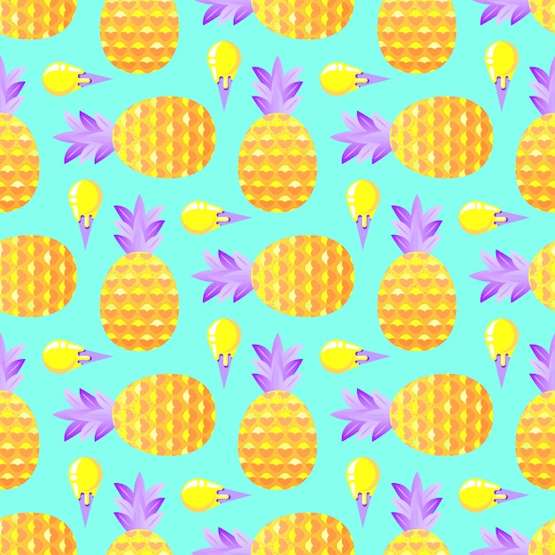 Pattern with pineapples and ice cream Premium Vector