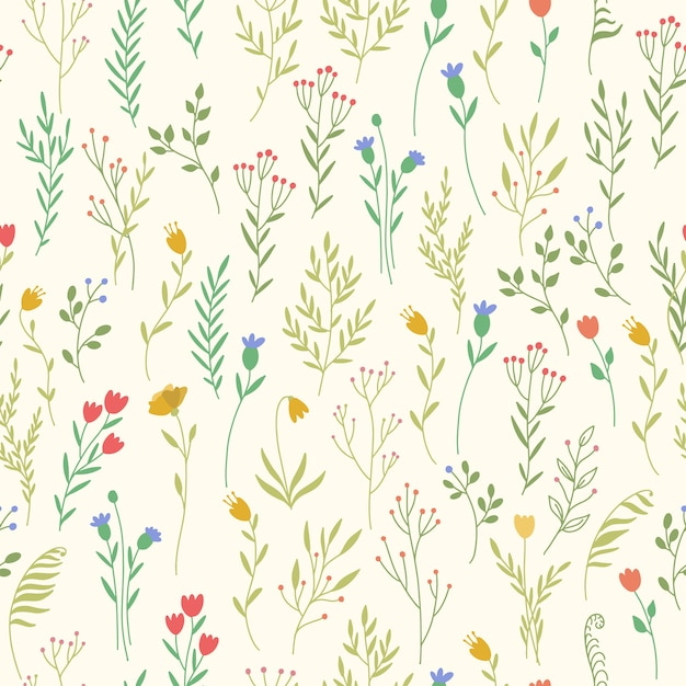 Pattern with plant elements Free Vector