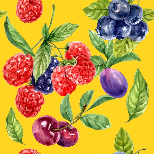 Pattern with red and purple fruits, contrast color  illustration template Free Vector