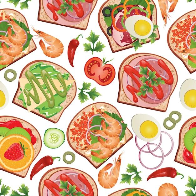Образец с бутербродами и едой. Premium векторы