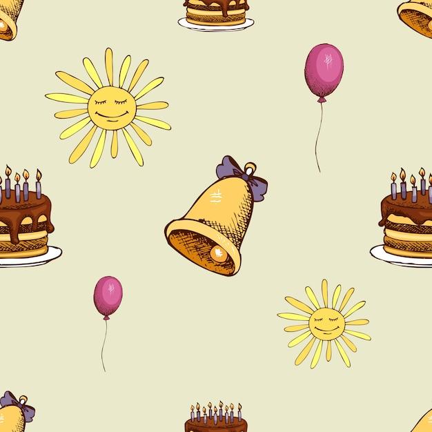 Modello con sole, campana e torta. fondo senza cuciture della decorazione dei pantaloni a vita bassa. Vettore gratuito