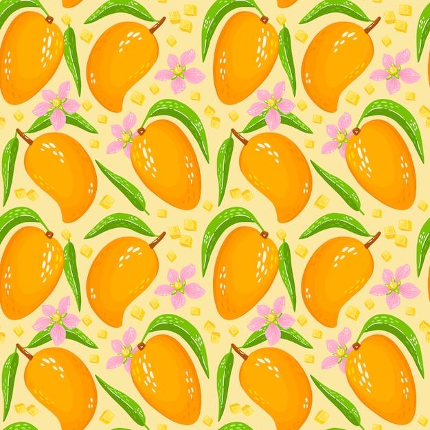 Узор с сладкого желтого манго с листьями, кусочками манго и цветами. органические здоровые фрукты фон. иллюстрации шаржа идеально подходит для оберточной бумаги, обоев, фона, ткани печати. Premium векторы
