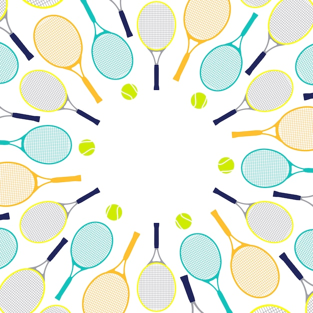 Pattern with tennis rackets and balls Premium Vector
