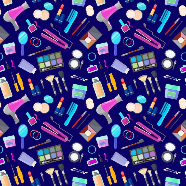 Pattern with tools for makeup Premium Vector
