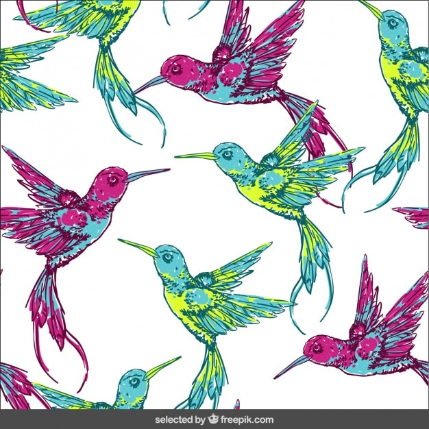 Pattern with tropical birds